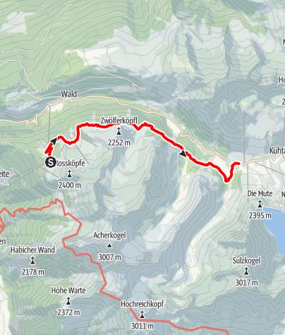 Karte / Oetz - Hochoetz - Knappenweg - Dortmunder Hütte