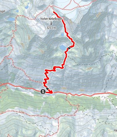 Karte / Hochstubaihütte 3175  über Seekarsee & Himmelsleiter - Sölden