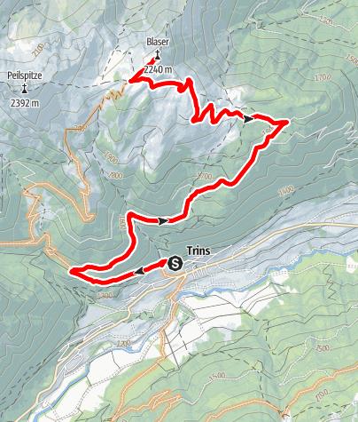 Karte / Blaser von Trins über die Blaserhütte