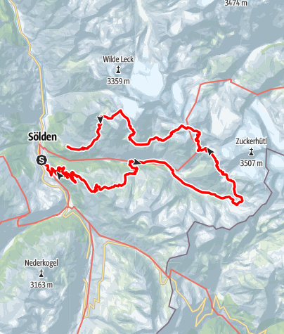 Map / Hut Tour Windachtal - Sölden