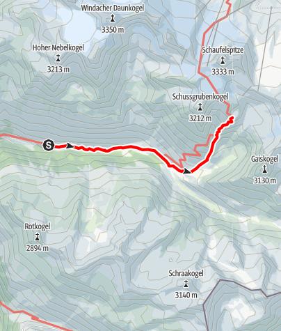 Karte / Hildesheimer Hütte 2899  Steiler Gaiskarweg - Sölden