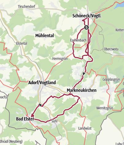 Karte / Kneippwanderweg Schöneck - Bad Elster