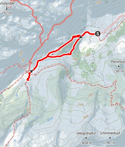 Karte / Zustieg Franz Senn Hütte - Familienwanderung von der Oberissalm