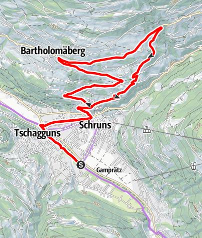 Karte / Fernblick Tour Bartholomäberg  (E-Bike)