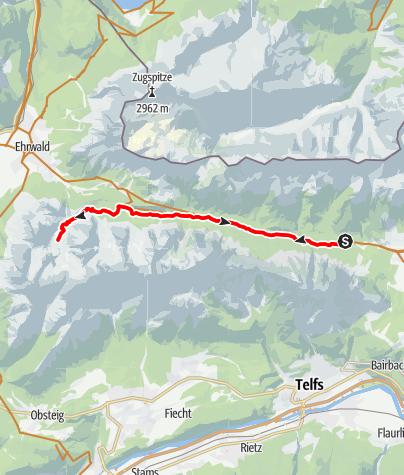 Karte / Seebensee von Leutasch durch das Gaistal