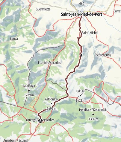 Cartina / Cammino francese. Tappa 1. Saint Jean Pied de Port - Roncesvalles