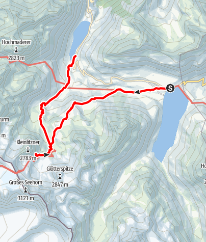 Karte / A7: Silvretta-Bielerhöhe über die Saarbrücker Hütte zum Vermuntsee