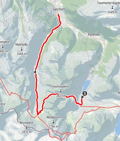 Karte / A5: Vom Vermuntsee ins Garneratal