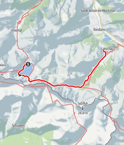 Karte / Vom Lünersee über Verajoch, Öfapass, Lindauer Hütte nach Latschau