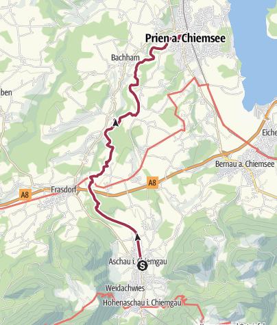 Prien Am Chiemsee Karte.Grenzenlos Wanderweg Von Aschau Nach Prien Bis Zum Chiemsee