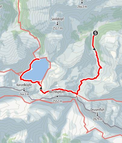 Karte / Vom Rellstal über die Zaluandaalpe, Schweizertor und Verajoch zum Lünersee