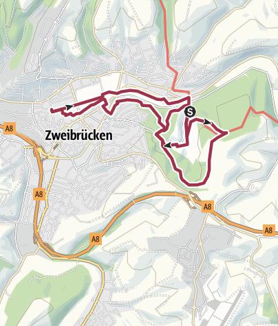 Karte / Naturerlebnispfad Themenweg Gärten- und Landschaft Zweibrücken