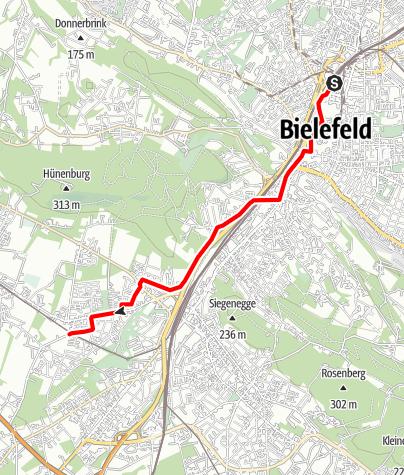 Karte / Zufahrtsweg BahnRadRoute Teuto-Senne von Bielefeld Hbf