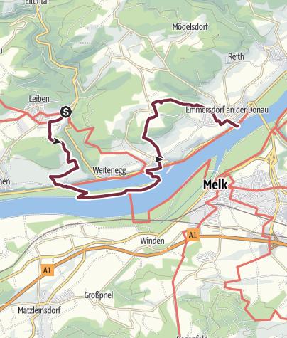 Map / Nibelungengau long distance trail 5: Leiben - Emmersdorf