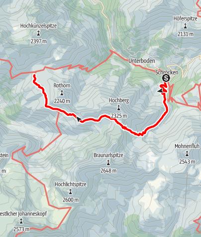 Karte / Von Schröcken über das Braunarl Fürggele zur Biberacher Hütte