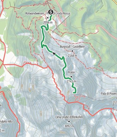 מפה / Rotwand Klettersteig - Sextener Rotwand, 2936 m - Sextener Dolomiten