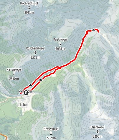 Map / Niederthai-Schweinfurter Hütte Bike Route