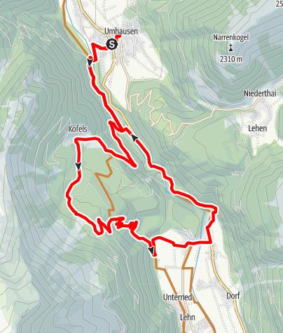 Karte / Biketour Köfels – Wurzberg - Winklen