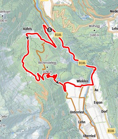 Karte / Biketour Rund um Rechenstielegg (684)