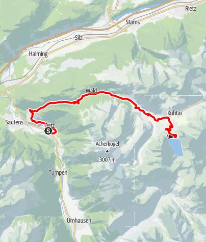 Karte / Rennradtour - Oetz - Kühtai - Finstertaler Stausee