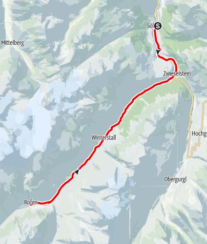 Karte / Rennradtour -  Sölden - Vent & Rofen