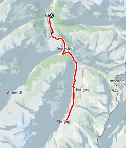 Karte / Rennradtour - Sölden - Obergurgl