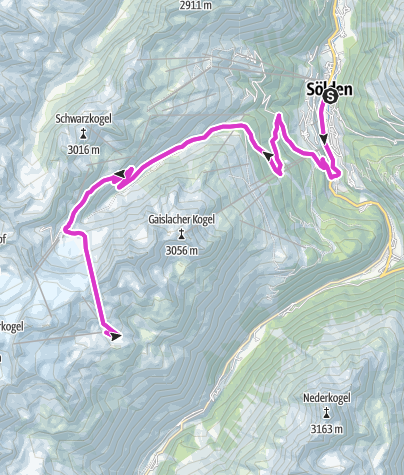 Map / Rennradtour - Sölden - Tiefenbachgletscher
