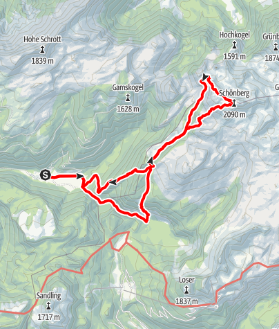 Karte / Schönberg (Wildenkogel) (2090m), der westlichste Zweitausender des Toten Gebirges