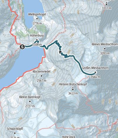 Karte / Großes Wiesbachhorn (3564m) vom Stausee Mooserboden/Kaprun