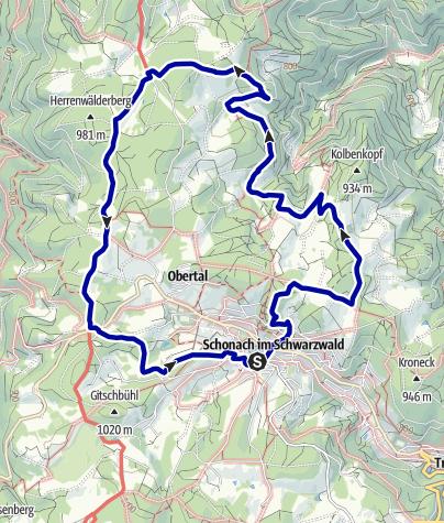 Map / Zu mythischen Orten rund um Schonach
