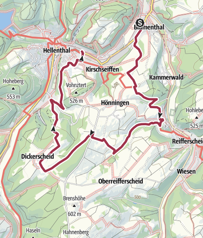 Karte / GPS-Tour: Von Blumenthal nach Hellenthal: Entspanntes Wandern und weite Blicke um Burg Reifferscheid.