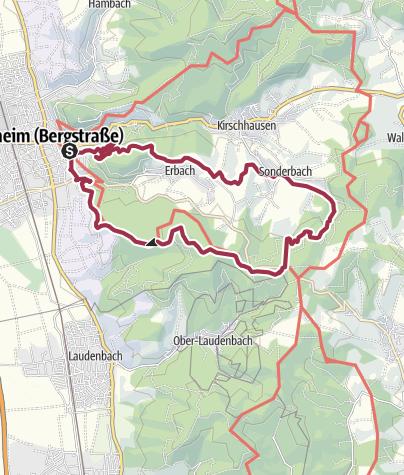 Karte / Heppenheim: Hügelgrabwanderung - durch den Wald und über die Höh'