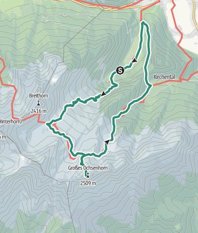 Karte / Großes Ochsenhorn (2.511m) vom Loferer Hochtal