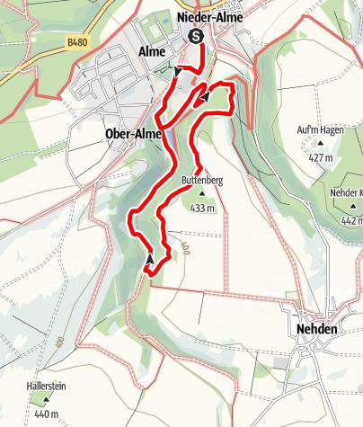 Karte / Quellenweg Alme