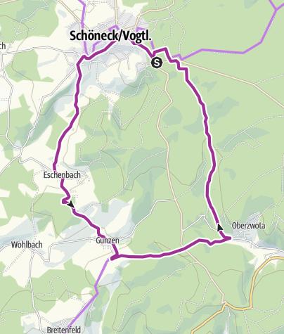Karte / Radroute 3 - Nach Eschenbach und Gunzen