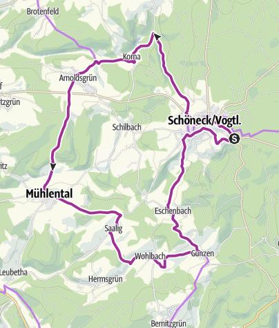 Karte / Radroute 4: Neunmühlental - Radtour