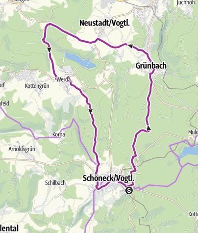 Karte / Radroute 5 - Geigenbachtalsperre Werda