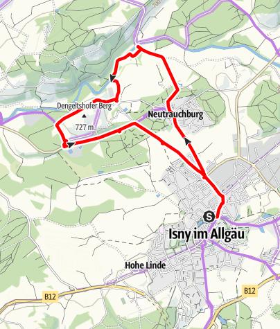 Karte / Kleine Rundtour um Isny entlang der Unteren Argen
