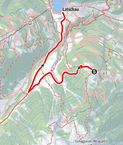Karte / Grabs - Sanüel - Gauertal - Latschau