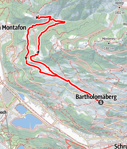 Karte / Von Bartholomäberg über Lutt zur Valleu Kapelle