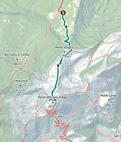 Map / From Nago to the summit of Monte Altissimo
