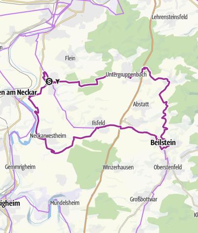 Karte / Burgen- und Schlössertour im Schozach- und Bottwartal