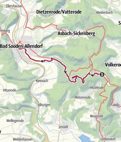 Karte / 6. Abschnitt-Werra-Burgen-Steig Hessen
