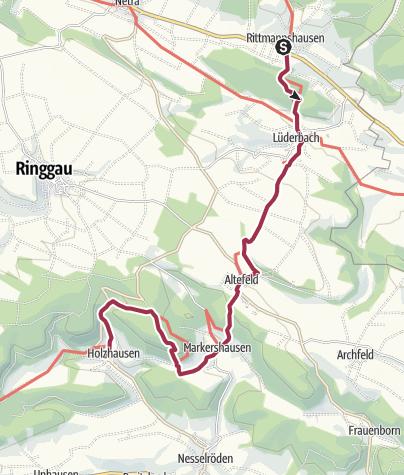 Karte / 10. Abschnitt-Werra-Burgen-Steig Hessen