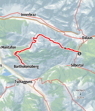 Karte / Kristberg - Alpe Latons - Rellseck - Kirche Bartholomäberg