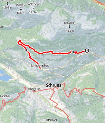 Karte / Innerberg - Rellseck - Bartholomäberg