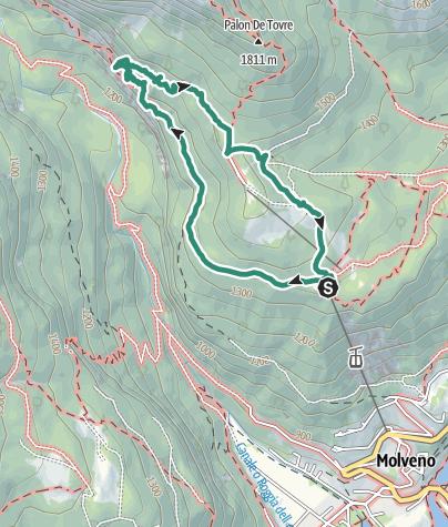 Karte / Sentiero delle Grotte Pradel – Rifugio Montanara