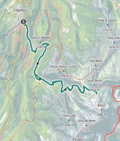 Map / Valle del Vento – passo Prà Castron