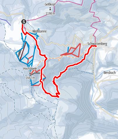 Karte / Schwarzenberg   Panoramawanderung Bödele - Schwarzenberg