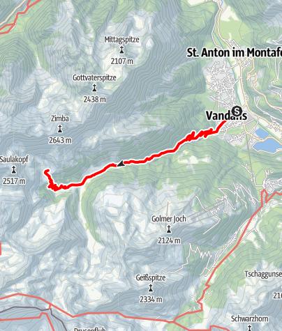 Karte / Vandans bis Heinrich Hueter Hütte